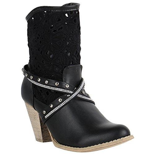 Stiefelparadies Damen Stiefeletten Cowboy Boots Strass Nieten Stiefel 150570 Schwarz Nieten Strass 37 Flandell (Stiefeletten Fashion Cowboy)