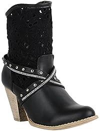 Stiefelparadies Damen Stiefeletten Cowboy Boots Leder-Optik Schuhe Cowboystiefel Western Kurzschaft-Stiefel Cowgirl Flandell