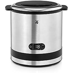 WMF Kitchenmini - Heladera 2 en 1, máquina de hacer helados compacta de 300 ml y 12 W , pantalla cristal función contador, cuchara de helados, acabados de acero inoxidable de cromargan mate