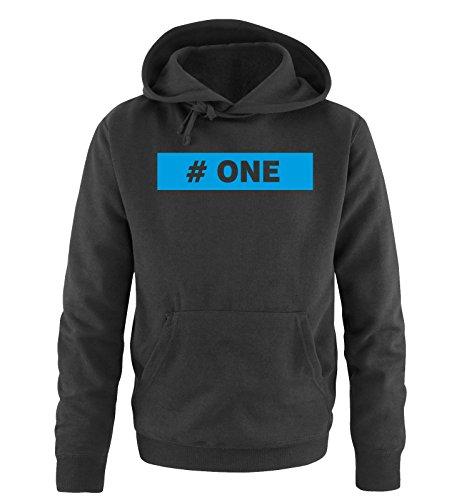 Comedy Shirts - # ONE - Uomo Hoodie cappuccio sweater - taglia S-XXL vari colori nero / blu