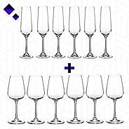 Combo Offer! Buy Set of 6 White Wine Glasses & Set of 6 Champagne Glasses from Wild M