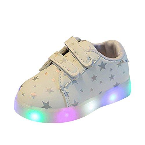 Zapatos-de-Beb-Zolimx-Zapatillas-de-Beb-de-Moda-LED-Nio-Luminoso-Pequeo-Casual-Colorido-Zapatos-Ligeros-21-115-aos-Longitud-los-13CM-Blanco