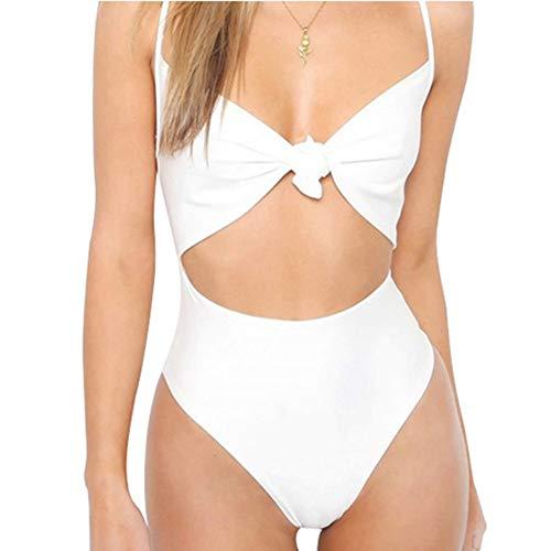 Comtervi Damen Bademode, Damen Strap Tie Knot Frontausschnitt High Cut Badeanzug Bikini Push Up Badanzüge