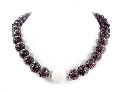 Halskette aus schwarzer Lava und weißer Koralle in Kugelform L-45 cm