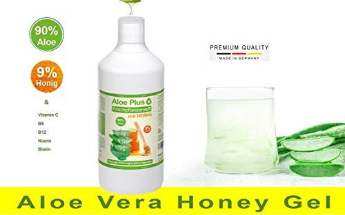 Aloe Vera Gel, ALOE & HONIG TRINK SAFT, mit Vitamin C, B6, B12, Niacin, Biotin, 1 Liter mit Messbecher | Nahrungsergänzung, Trink Saft | Premium Qualität | Aloe Plus von Secret Essentials