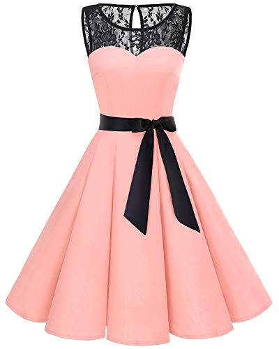 bbonlinedress 1950er Ärmellos Vintage Retro Spitzenkleid Rundhals Abendkleid Blush L