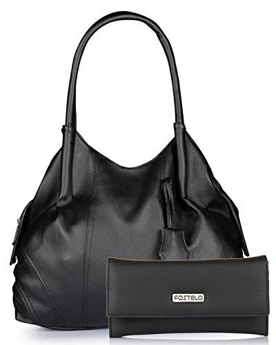 Fostelo Women's Combo Handbag & Clutch (Black & Black) (FSB-948-FC-29)