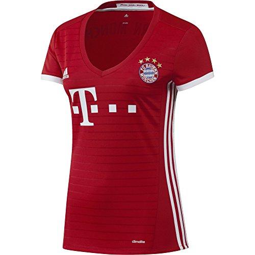 adidas Damen Fußball/Heim-Trikot FC Bayern München Heimtrikot Replica, Fcb True Red/White, L (Damen Fußball-trikot)