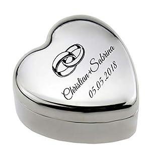 Box für Ringe mit Gravur nach Wunsch Herzform Geschenkbox, Schmuckbox, Edelstahl Etui