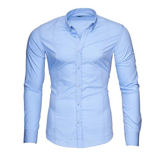 MERISH Slim Fit Hommes Chemise à manches longue Chemise Business Button Down, Modell 204 Bleu clair
