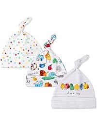 Casa 3 Stück Unisex Kind Baby Neugeborene Schlaf Mütze Kappe Kit Objektiv Gestreift Baumwollkappe mitwachsende Beanie Mütze Hut
