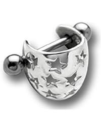 Ohr Piercing Tragus Helix Ohrschmuck mit Sternchen, TIP, Ohrpiercing 925er Silber mit 316L Edelstahl Barbell - TIP180