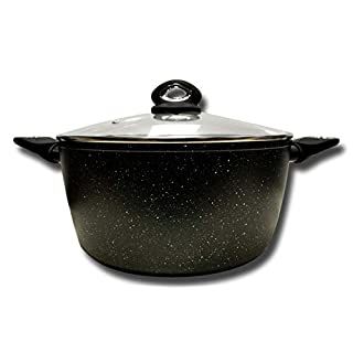 Cflagrant® Stone-Effect Stew Pot with Lid for All Heat Sources Including Induction - Grease-Free Cooking - Non-Stick Coating, Aluminium, Black, 32cm