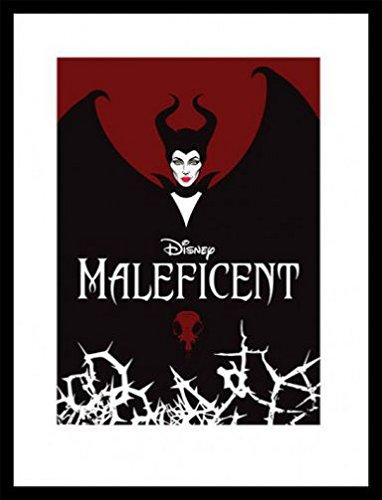 Maleficent Poster Kunstdruck und MDF-Rahmen Schwarz - Die Dunkle Fee, Flügel (80 x 60cm)