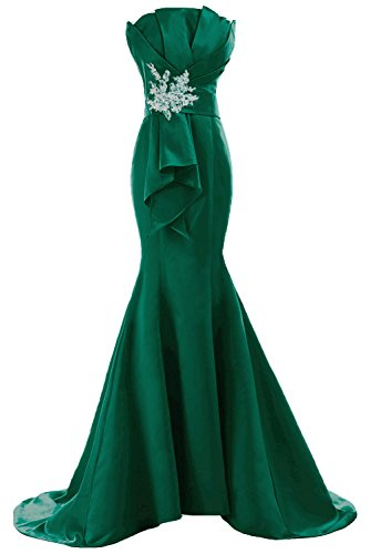 Damen Satin Lang Mermaid Traegerlos Applikation Abendkleider Partykleider  FBA5031 221509