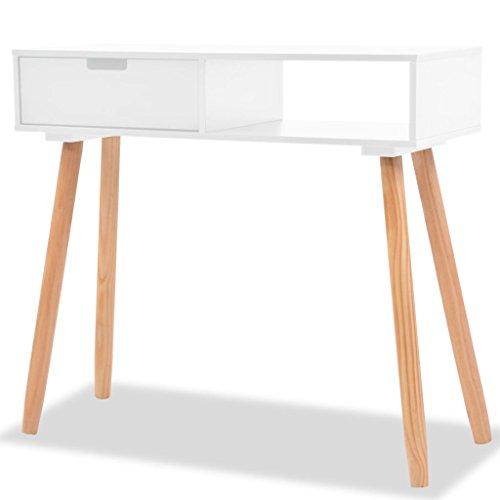 Festnight tavolo consolle rettangolare moderno in legno massello di pino bianco/nero/grigio 80x30x72 cm