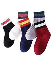 5 Par Calcetines de Canalé para Niñas Algodón Invierno Calcetines Calientes con Print Rayas, para Niños Niñas 3-5