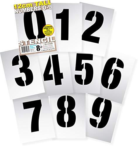 Schablonen , groß, 12 cm hoch, modernes Design, wiederverwendbare Zahlen 0123456789 auf 10 separaten Blättern mit 200 x 140 mm starkem flexiblem Kunststoff Mylar-Kunststoff -