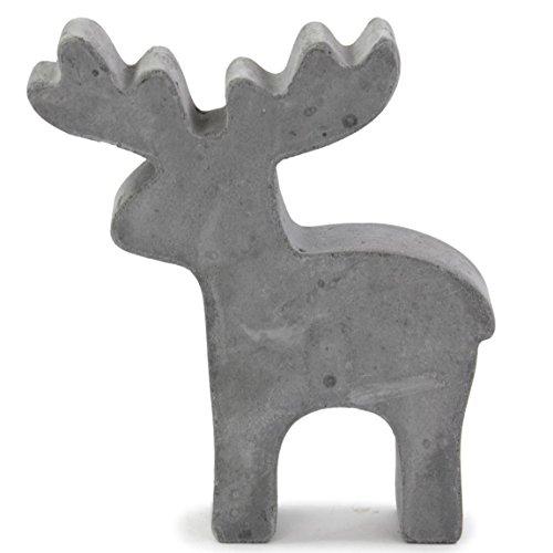 Rentier Figur Beton 13x2,5x15cm grau Dekofigur Weihnachtsdeko Adventsdeko