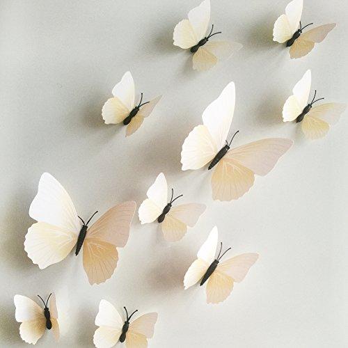 12 x 3D Schmetterling Wanddeko Tischdeko Aufkleber Wand Sticker Kühlschrank Magnet Hauptdeko abmehmbar, Weiss