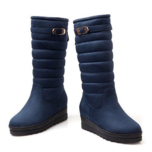 AllhqFashion Damen Blend-Materialien Rund Zehe Ziehen Auf Stiefel Blau-Schnalle