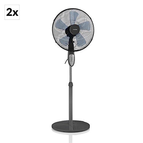 """Klarstein Summerjam • Ventilator • Standventilator • 2er Set • mit Fernbedienung • leise • 5-Blatt-Rotor • 16"""" (41cm) Durchmesser • Zuschaltbare 80°-Oszillation • energiesparend • 50 Watt • 3 Geschwindigkeiten • 4 Timer-Modi • stabiler Fuß • grau"""