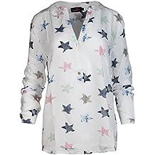 Zwillingsherz Bluse mit Stern Muster - Hochwertiges Oberteil für Damen  Mädchen - Langarmshirt Top - T 4c4283be0c