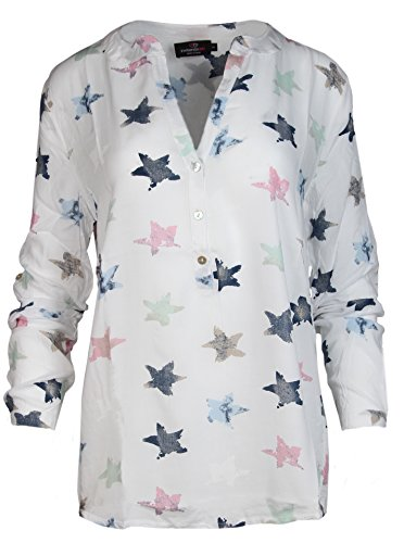 Zwillingsherz Bluse mit Stern Muster - Hochwertiges Oberteil für Damen Mädchen - Langarmshirt Top - T-Shirt - Pullover - Sweatshirt - Hemd für Sommer Herbst und Winter von Cashmere Dreams- Gr. L, Weiß (Damen-fair-isle-strickjacke-pullover)