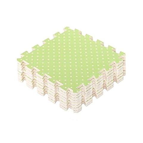 Pois Interlocking Tiles mousse mousse EVA tapis de sol (9 tuiles, vert)