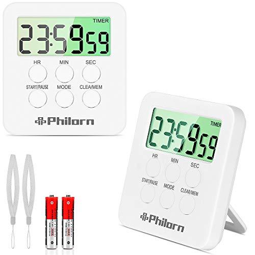 PHILORN Küchenuhr Timer [2 Stück] - 24H Countdown & Up, Digitaler Kurzzeitwecker, Küchentimer, Kurzzeitmesser mit Starker Magnetischer Gegenständer, Wecker - Lauter Piepser & Lautloses Blinken 2 Modi