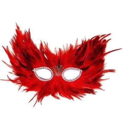 Red & Black Feather Masquerade Maske - Erwachsene Silvester Weihnachten Maske - One (Maske Red Lace)