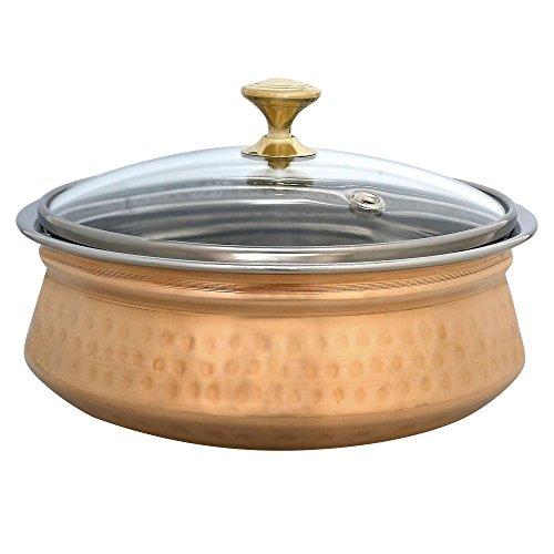 Donga indiano Serveware zuppa zuppiera - 1 grandi ciotole con coperchi in vetro - artigianato indiano - rame utensili da cucina
