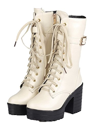 AgeeMi Shoes Femme Lacet PU Cuir Couleur Unie Tacco Alto Rond Bottes Blanc