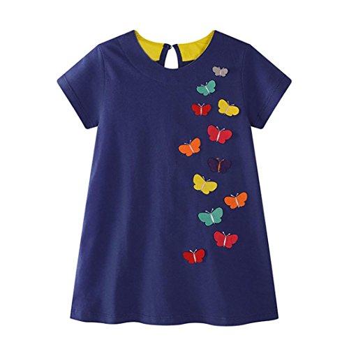 Amlaiworld mädchen bunte Schmetterlinge Flickwerk t-shirt kleid sommer baby locker niedlich Kleinkind sport Kleider süße party oberteile kleidung, 0-6 Jahren (2 Jahren, Blau)