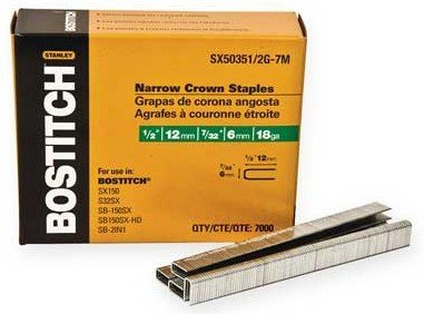 2 Pack Bostitch SX50351/2G-7M 1/2 18-Gauge 7/32 Narrow Crown Finish Staples - 7000 per Package by BOSTITCH -