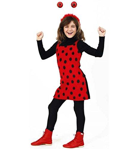 KarnevalsTeufel Kinderkostüm Sweet Mary Kleid in rot mit schwarzen Pünktchen weicher Plüschstoff Marienkäfer Käferchen Glückskäfer Ladybug Gr 104 - 128 ()
