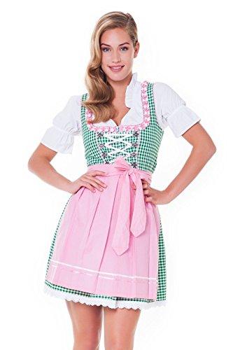 3tlg. Dirndl-Set - Trachtenkleid, Bluse, Schürze, Gr.38, grün-rosa - ALM625