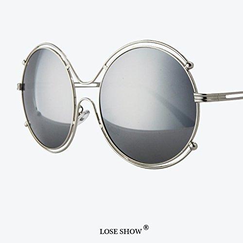 LXKMTYJ Occhiali da sole Occhiali da sole cerchio colorato riflettente Occhiali da sole maschio guida Taxi Occhiali da sole, argento riflettente