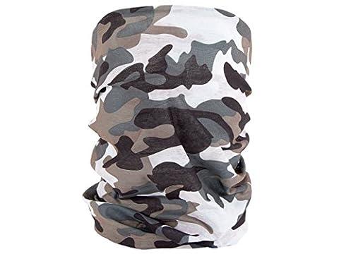 Foulard multifonction sans couture en forme de tube, tour de coup morf écharpe multi-usage multi-scraf Près de 10 produits en 1: Bandeau, bonnet, bandana, cagoule, attache-cheveux..., :MF-206 arm' vert marron