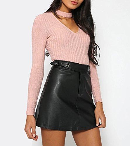 QIYUN.Z Les Femmes Col V À Manches Longues Slim Fit Tricot Jumpsuit Licol Tops T-Shirt Rose