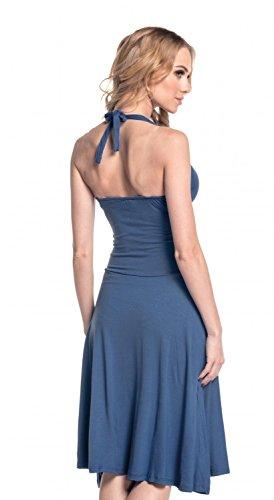 Glamour Empire. Damen Jersey Kleid Tiefer V-Ausschnitt Wickeloptik S-4XL. 145 Blau Grau