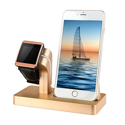 Moclever 2 in 1 Handy Halterung Ständer Halter Ladegerät Ladestation Docking Station Stand Dock Halterung für Apple Watch Series + iPhone X/8/8 Plus/7/7 Plus/6/5s/4s (Gold) Ipad 1 Docking-station