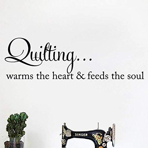 Luzhenyi Quilten Wärmt Das Herz Wandkunst Aufkleber Nähen Quilten Schriftzug Worte Vinyl Aufkleber Kunsthandwerk Zimmer Wand Kunst Dekor 110X35 Cm -