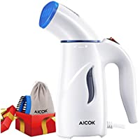 Aicok Plancha Ropa Vapor Vertical, mini cepillo de vapor de mano para prendas delicadas y tejidos gruesos,calentamiento rápido y bolsa de viaje, plancha de vapor portátil para el viaje y hogar, Azul