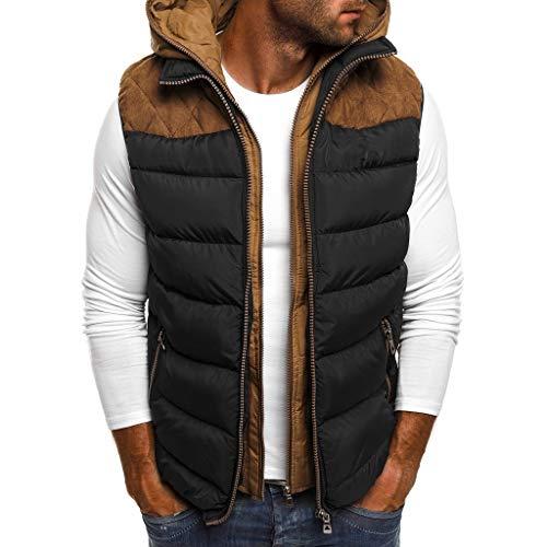 LIMITA Herren Daunenweste Herbst Winter Reißverschluss Hoodie Daunenjacke mit Kapuze und Patchwork Mode Reine Farbe Weste Weste Top Coat