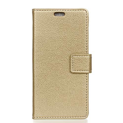 Für Wileyfox Spark X Hülle, Premium PU Leder Schutztasche Klappetui Brieftasche Handyhülle, Standfunktion Flip Wallet Case Cover - golden