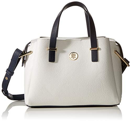 Tommy Hilfiger Damen Th Core Med Satchel Business Tasche, Weiß (Bright White), 1x1x1 cm