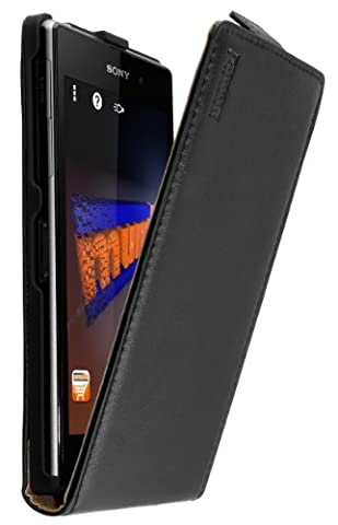 mumbi PREMIUM Leder Flip Case für Sony Xperia Z1 Tasche
