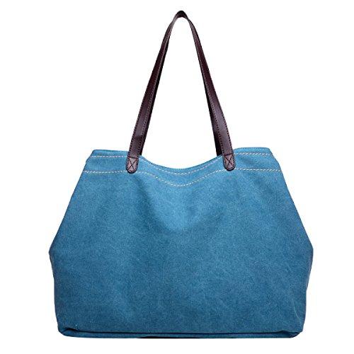 Unfading Damen Leinwand Einfach Mode Freizeit Große Kapazität Licht Einzelne Schulterbeutel Blue2