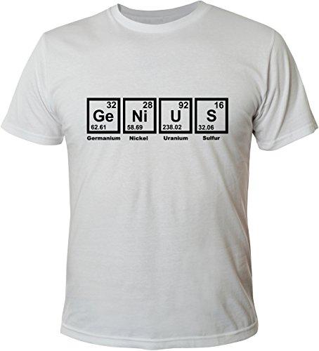 Mister Merchandise Witziges Herren Männer T-Shirt Genius Chemie Nerd Periodentafel Chemistry , Größe: M, Farbe: Weiß (Weißes Chemie T-shirt)